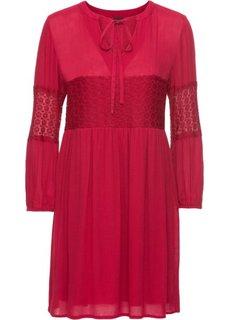 Платье с кружевными аппликациями (красный) Bonprix