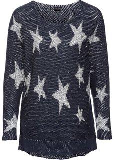 Вязаный пуловер с пайетками (темно-синий/серебристый) Bonprix