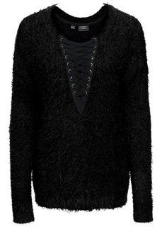Вязаный пуловер на шнуровке (черный) Bonprix