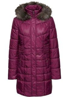Стеганая куртка с капюшоном с опушкой (красная ягода) Bonprix