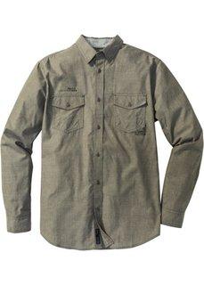 Рубашка Slim Fit с длинным рукавом (темно-оливковый в полоску) Bonprix