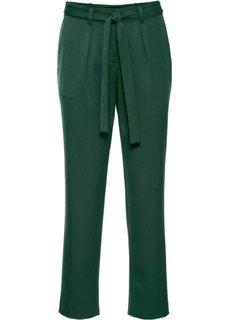 Брюки с текстильным поясом (насыщенный зеленый) Bonprix