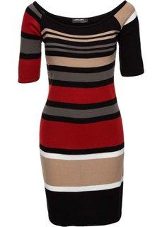 Вязаное платье в полоску (красный/бежевый/черный в полоску) Bonprix