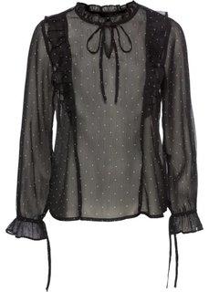 Блузка с воланами (черный/белый в горошек) Bonprix