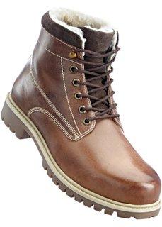 Кожаные ботинки на шнуровке (верблюжий) Bonprix