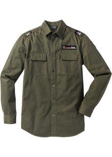 Рубашка Slim Fit с длинным рукавом (темно-оливковый) Bonprix