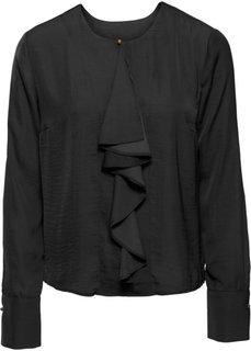 Сатиновая блузка с воланом (черный) Bonprix
