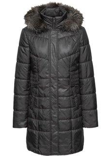 Стеганая куртка с капюшоном с опушкой (черный) Bonprix