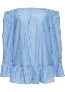 Блузка с вырезом-кармен и воланами (нежно-голубой) Bonprix