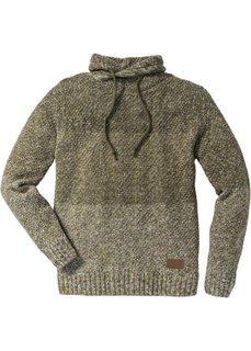 Пуловер Slim Fit с высоким воротом (темно-оливковый меланж) Bonprix
