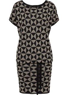 Вязаное платье (черный/золотистый) Bonprix