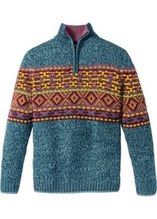 Пуловер Regular Fit (сине-зеленый) Bonprix