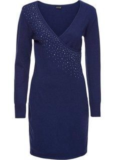 Вязаное платье с аппликацией из стразов (ночная синь) Bonprix