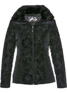 Стеганая куртка с бархатистым принтом (черный с рисунком) Bonprix