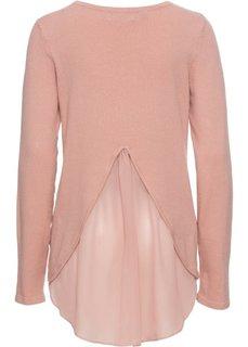 Пуловер с вставкой в виде блузки (розовый) Bonprix