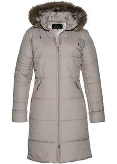 Стеганое пальто с капюшоном, отделанным искусственным мехом (натуральный камень) Bonprix