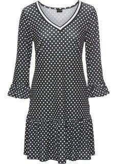 Трикотажное платье с воланами и деталями в резинку (черный/белый в горошек) Bonprix