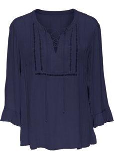 Блузка на шнуровке и с кружевной отделкой (темно-синий) Bonprix