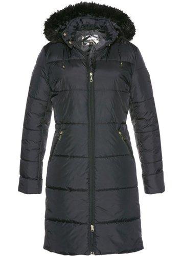 Стеганое пальто с капюшоном, отделанным искусственным мехом (черный)