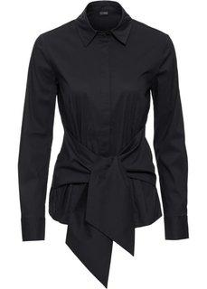 Блузка с эффектом запаха (черный) Bonprix
