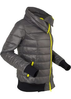 Легкая стеганая куртка на асимметричной молнии (шиферно-серый) Bonprix