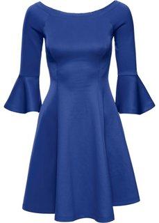 Платье с вырезом-кармен (темно-синий) Bonprix