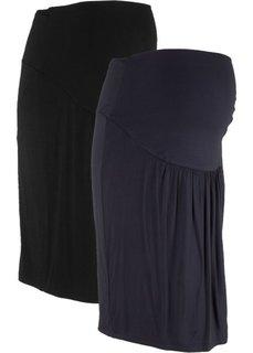 Мода для беременных: трикотажная юбка (2 шт.) (черный + темно-синий) Bonprix