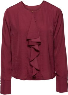 Сатиновая блузка с воланом (бордовый) Bonprix