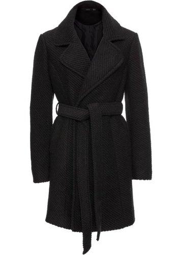 Шерстяное пальто с лацканами (черный)