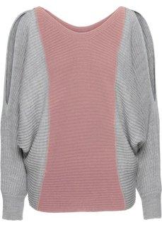 Пуловер контрастной расцветки, покрой оверсайз (светло-серый/розовое дерево) Bonprix