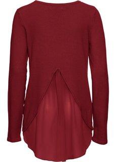 Пуловер с вставкой в виде блузки (темно-красный) Bonprix
