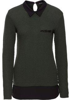 Пуловер 2 в 1 с имитацией блузки (оливковый/черный) Bonprix