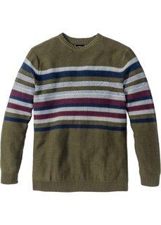 Пуловер Regular Fit (темно-оливковый) Bonprix