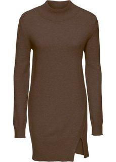 Удлиненный пуловер с разрезом (коричневый) Bonprix
