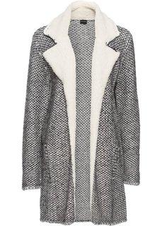 Вязаное пальто с флисовым воротником (черный/серый/цвет белой шерсти с узором) Bonprix