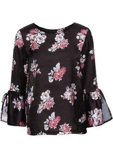 Блузка с цветочным принтом (черный с рисунком) Bonprix