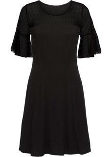 Трикотажное платье с сетчатой вставкой в горошек (черный) Bonprix