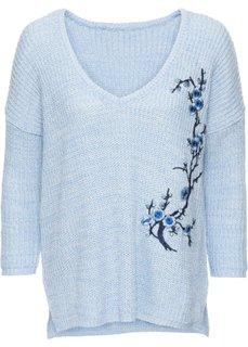 Вязаный пуловер с вышивкой (нежно-голубой) Bonprix