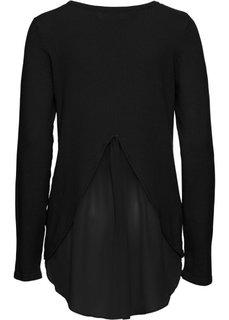 Пуловер с вставкой в виде блузки (черный) Bonprix