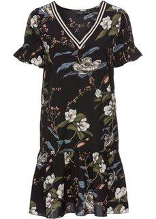 Платье с воланом и отделкой в рубчик, украшено принтом (черный с рисунком) Bonprix