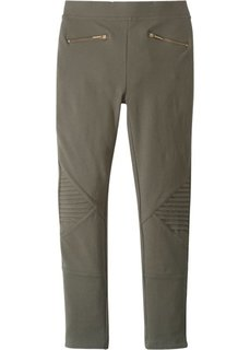 Стрейчевые брюки с молниями (темно-оливковый) Bonprix