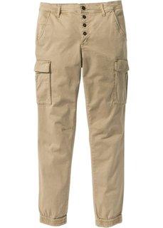Эластичные брюки-карго Slim Fit Straight (бежевый) Bonprix