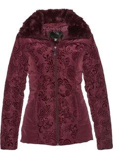Стеганая куртка с бархатистым принтом (кленово-красный с рисунком) Bonprix