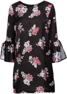 Платье с цветочным принтом (черный с узором) Bonprix