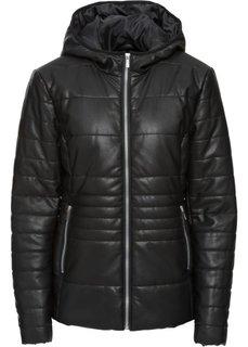 Стеганая куртка с имитацией кожи (черный) Bonprix