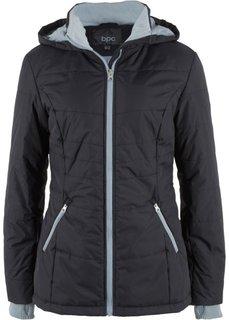 Стеганая куртка с контрастными молниями (черный) Bonprix