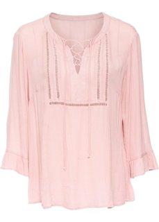 Блузка на шнуровке и с кружевной отделкой (винтажно-розовый) Bonprix