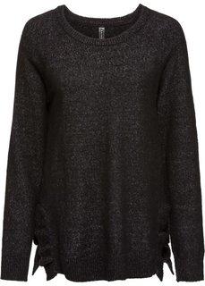 Вязаный пуловер (черный меланж) Bonprix