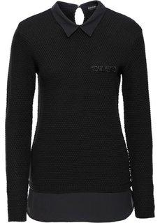 Пуловер 2 в 1 с имитацией блузки (черный/черный) Bonprix