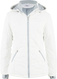 Стеганая куртка с контрастными молниями (кремовый) Bonprix
